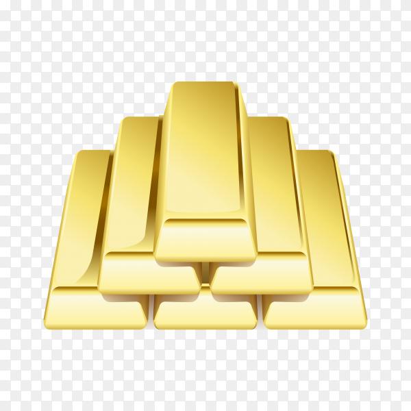 Realistic gold bars or bullion treasure illustration on transparent background PNG
