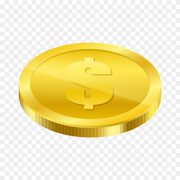 Realistic golden dollar coin isolated on transparent background PNG