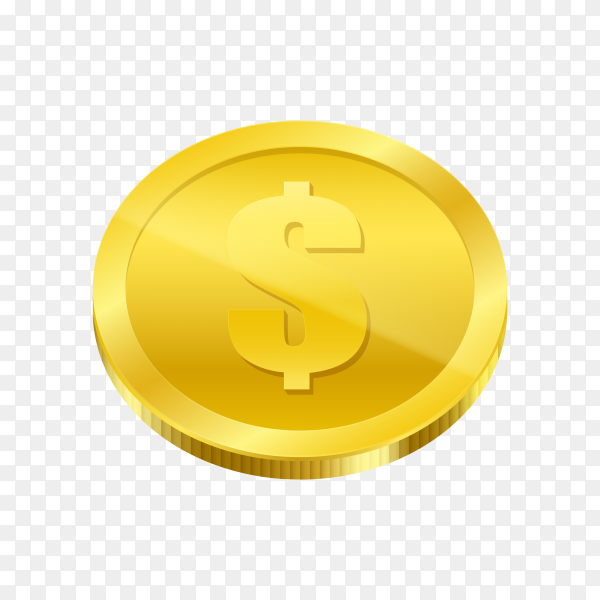 Realistic golden dollar coin isolated premium vector PNG