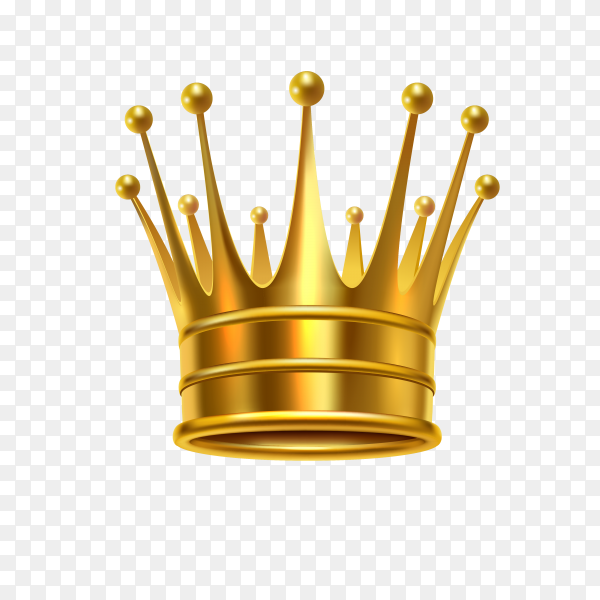 Realistic golden royal shiny crown on transparent background PNG