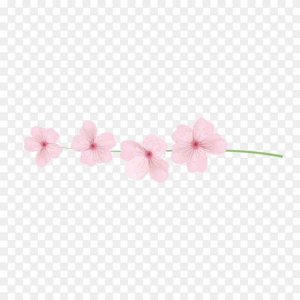 Realistic sakura branch tree mock up premium vector PNG