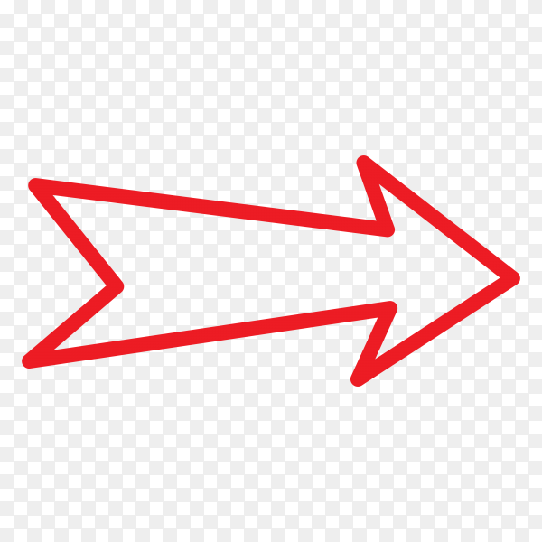 Red arrow mark icon on transparent background PNG