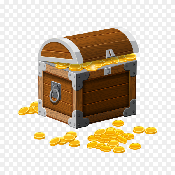 Reinforced wooden box is filled with a shining gold money on transparent background PNG