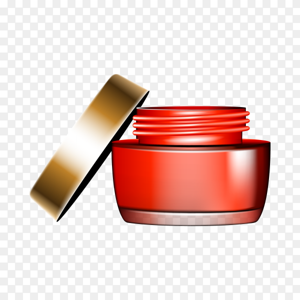 Round red plastic jar with lid for cosmetic on transparent background PNG