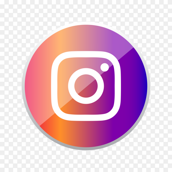 Round shiny silver frame Instagram icon button with gradient effect on transparent background PNG