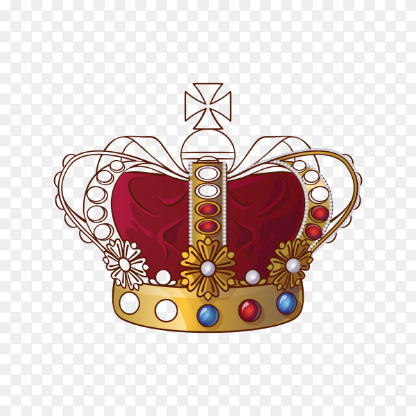 Royal golden crown with jewels isolated on transparent background PNG