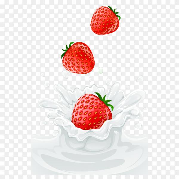 Strawberry in splashing milk on transparent background PNG