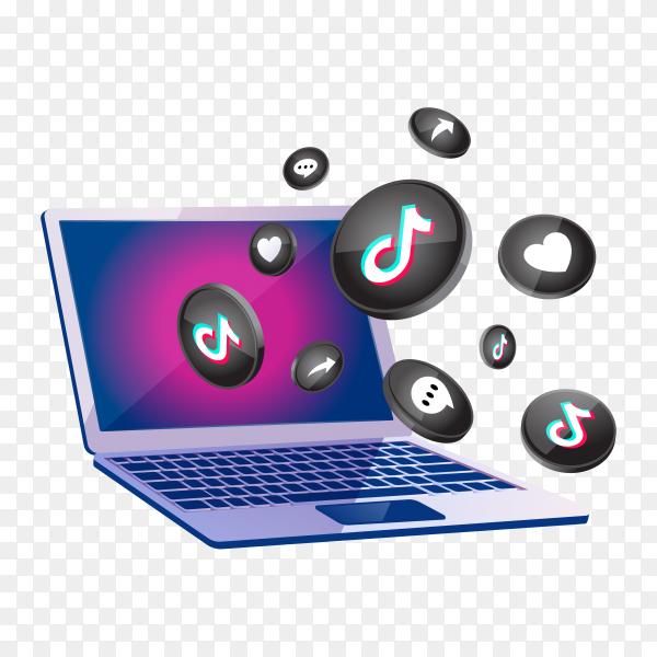 TikTok 3d social media icon with laptop desktop on transparent background PNG