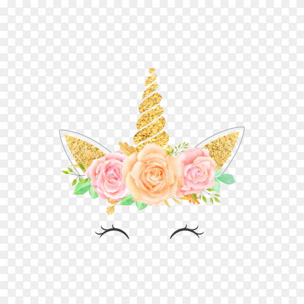 Watercolor head of unicorn with floral wreath rose pink on transparent background PNG