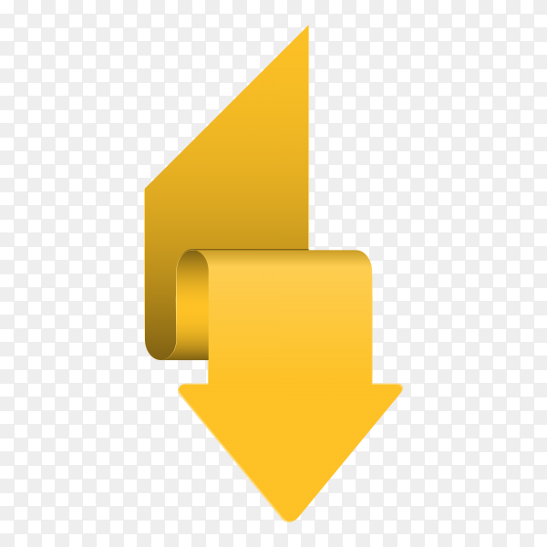 Yellow arrow icon on transparent background PNG