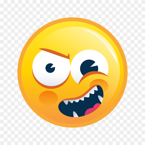 Yellow emoji face icon on transparent background PNG