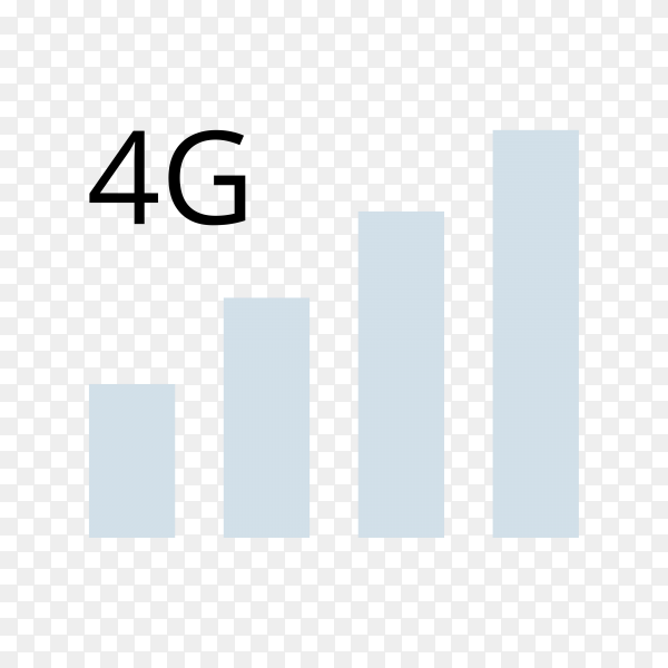 4G internet vector icons. Wireless signal technology on transparent background PNG