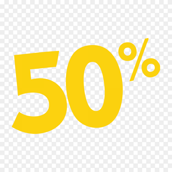 50 percent discount off sticker on transparent background PNG