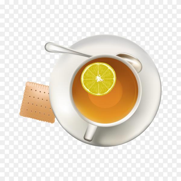 A cup of tea lemon on transparent background PNG