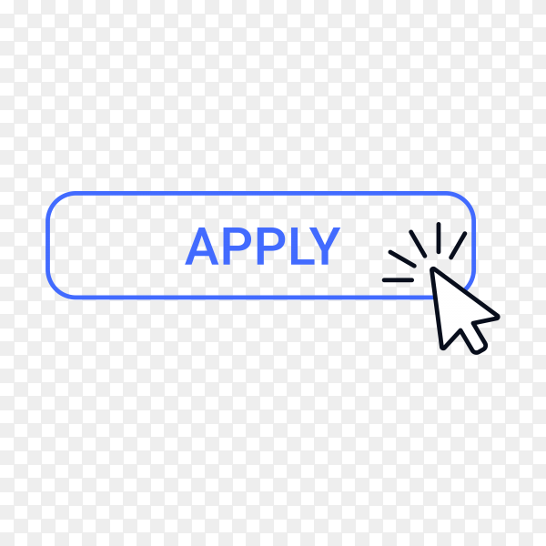 Apply button with hand pointer clicking on transparent background PNG