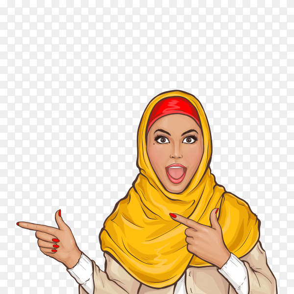 Arabic woman in hijab pointing on transparent background PNG