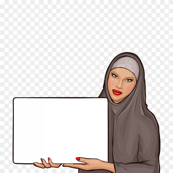 Arabic woman in hijab with billboard on transparent background PNG