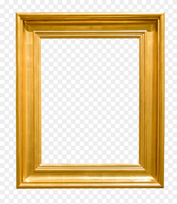 Art empty frame in golden on transparent background PNG