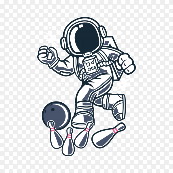 Astronaut playing bowling in space on transparent background PNG