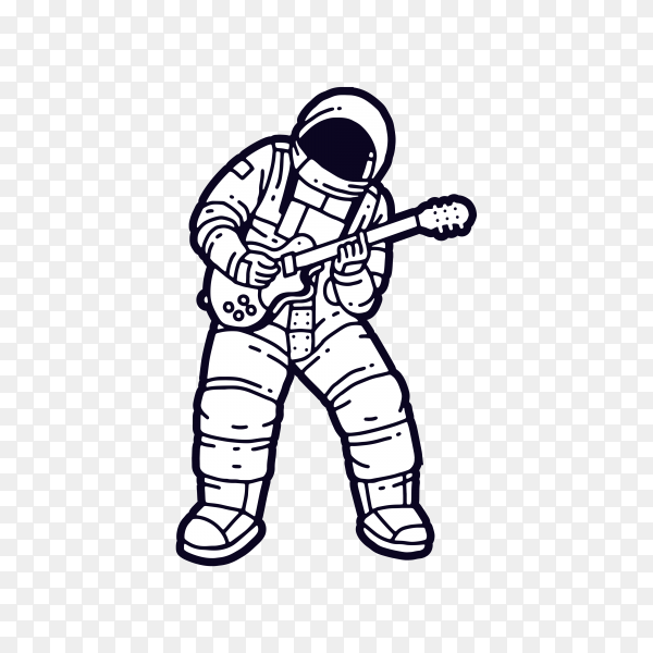 Astronaut playing guitar on transparent background PNG