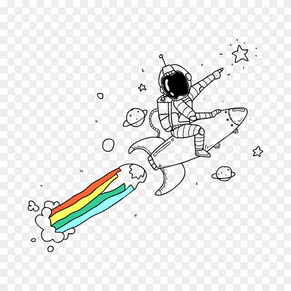 Astronaut sitting astride the rocket ship waving one hand and touching the ship with the other on transparent background PNG
