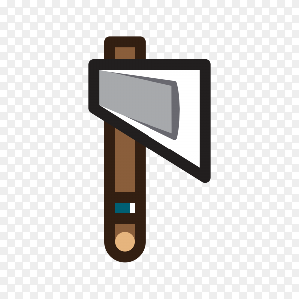 Axe for creating video game with flat design on transparent background PNG
