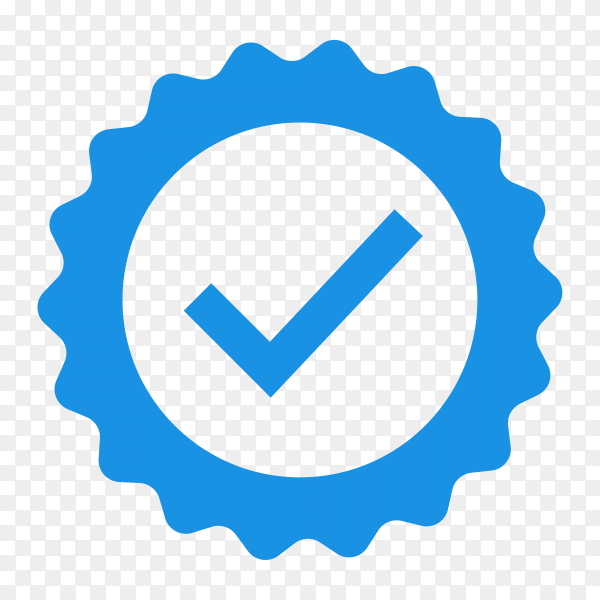 Badge check icon on transparent background PNG
