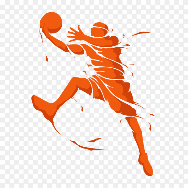 Basketball player isolated on transparent background PNG