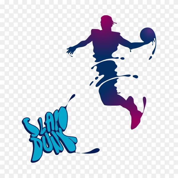Basketball slam dunk splash silhouette on transparent background PNG