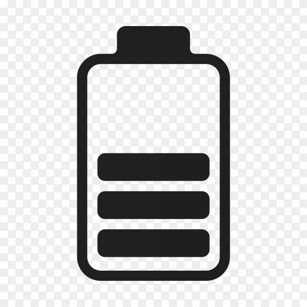 Battery icon with flat design on transparent background PNG