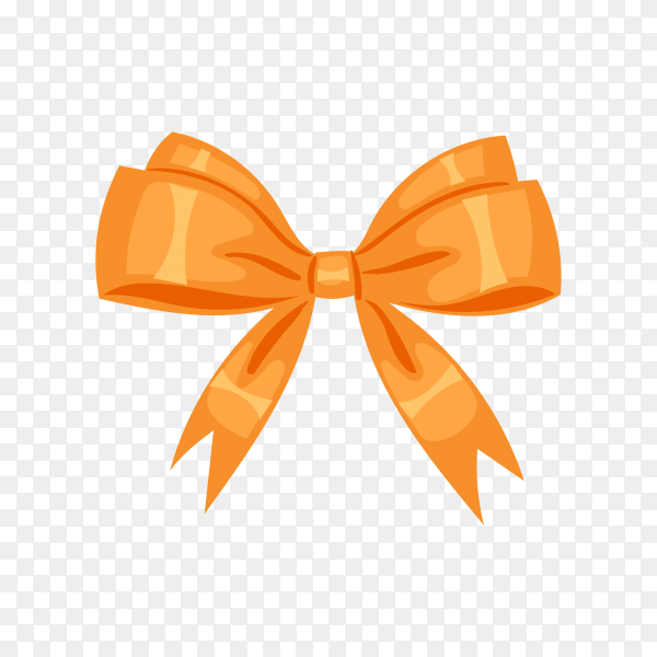 Beautiful bows from orange ribbon on transparent background PNG.png