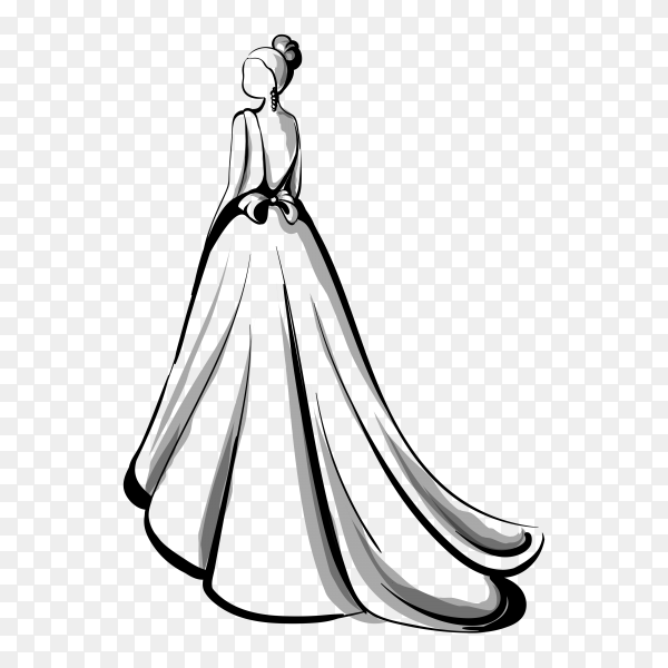 Beautiful bride with white wedding dress on transparent background PNG