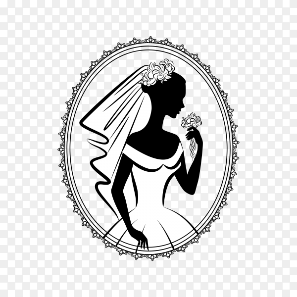 Beautiful bride with white wedding dress premium vector PNG