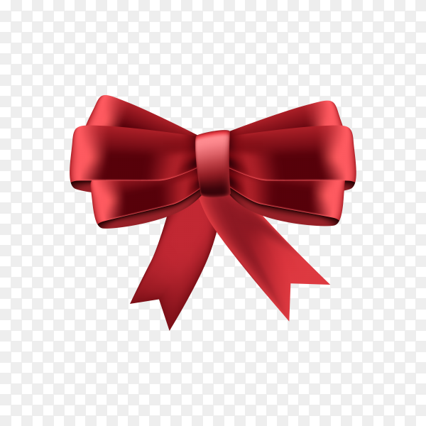 Beautiful red bow Isolated on transparent background PNG.png