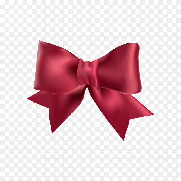 Beautiful red bow on transparent background PNG.png