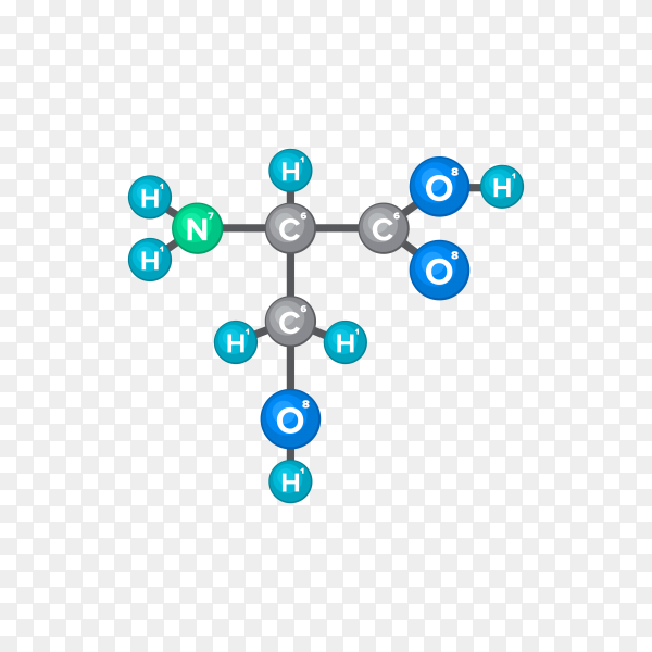 Bitmap Molecular structure of chemical substance with flat design on transparent background PNG