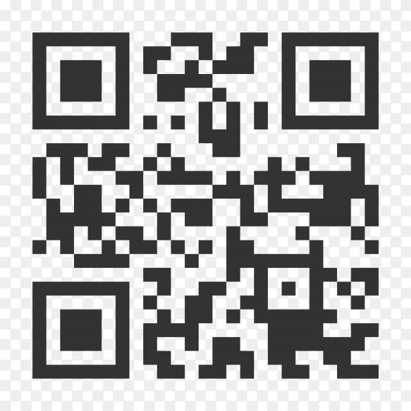 Black QR code sample for smartphone scanning isolated on transparent background PNG