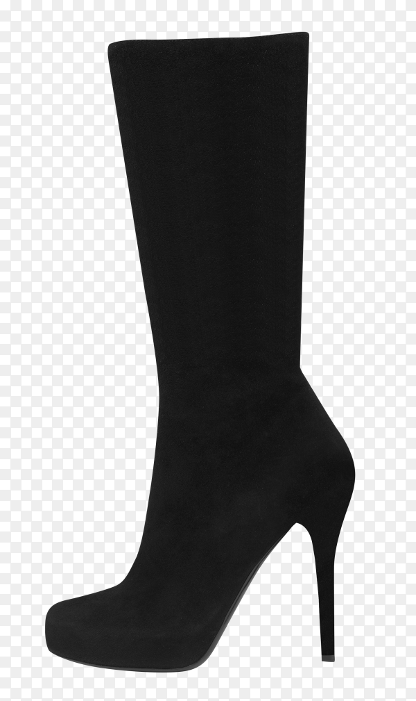 Black female shoes high boot isolated on transparent background PNG