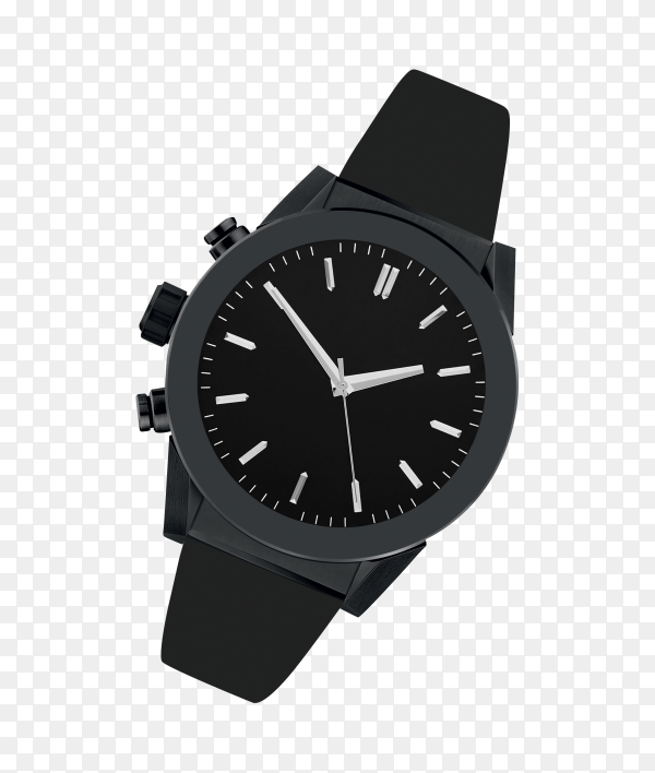 Black steel watch isolated on transparent background PNG