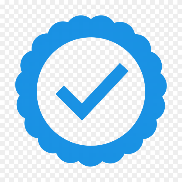 Blue check mark icon on transparent background PNG
