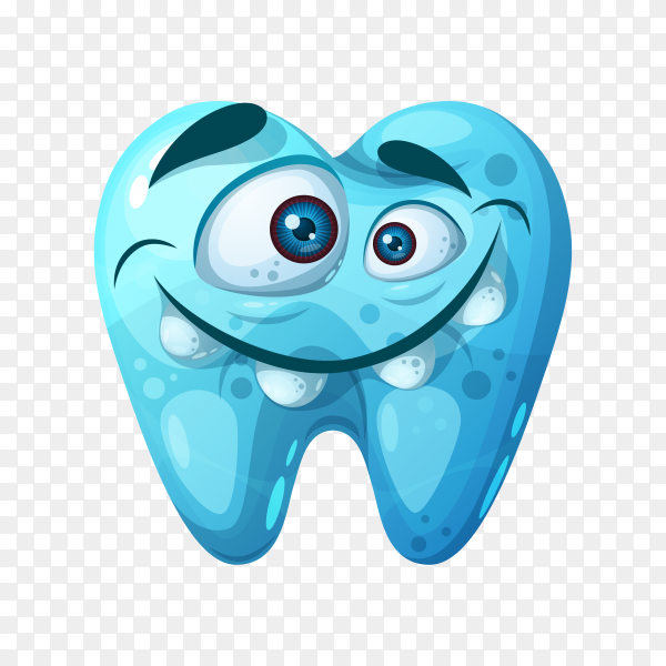 Blue good tooth on transparent background PNG