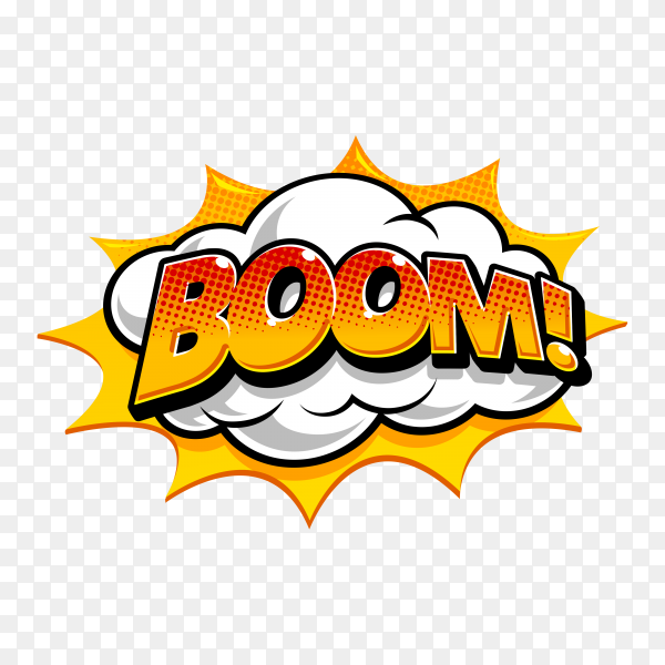 Boom text on speech bubble with abstract shape premium vector PNG