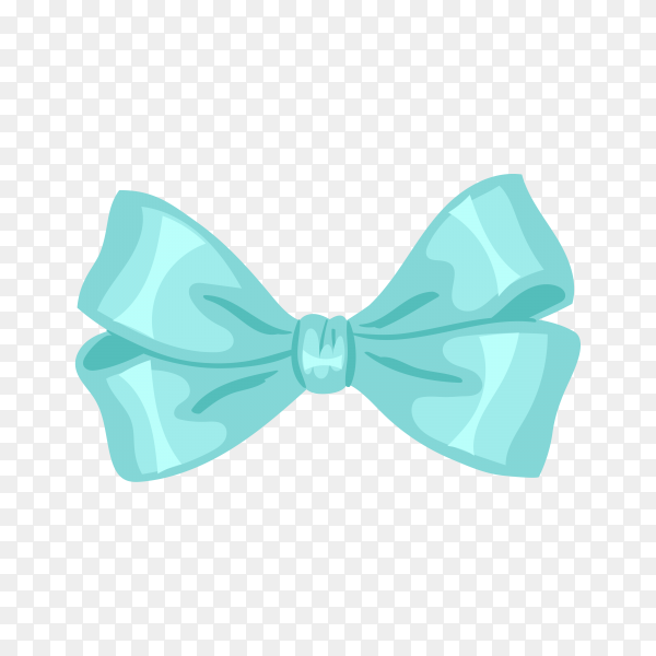 Bow and ribbon in blue color on transparent background PNG.png