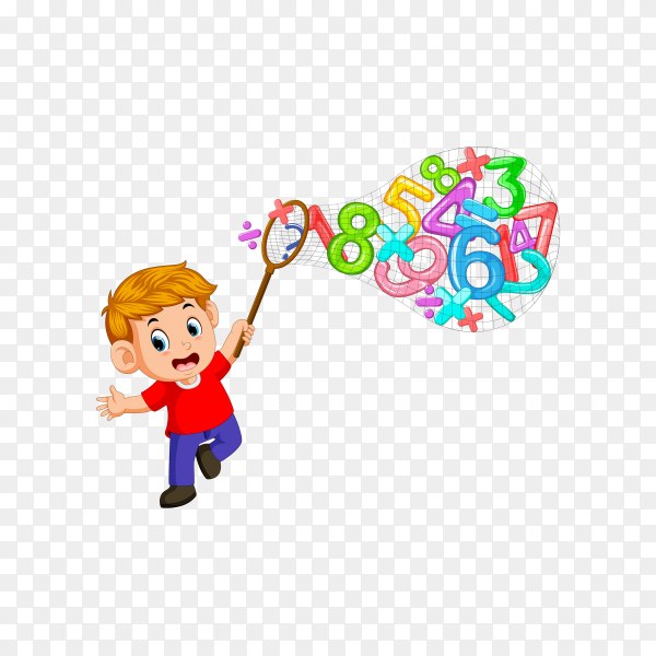 Boy catching numbers with net on transparent background PNG