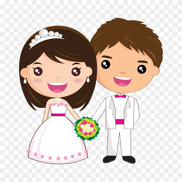 Bride and groom as love wedding couple. Cartoon husband and romantic wife ceremony on transparent background PNG