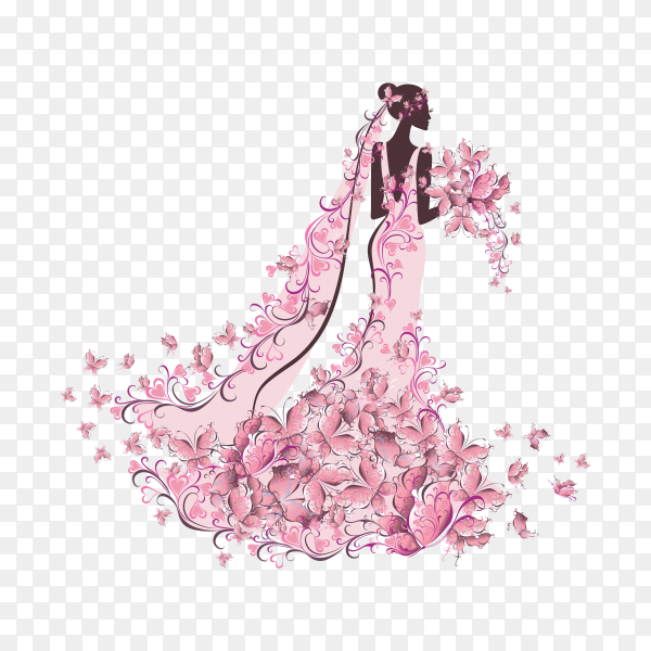 Bride in floral dress with butterfly on transparent background PNG