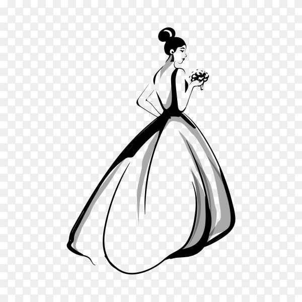 Bride silhouette with white dress on transparent background PNG