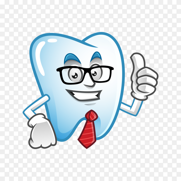 Businessman tooth mascot wearing glasses and tie, tooth character, tooth cartoon on transparent background PNG.png