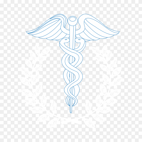 Caduceus symbol isolated on transparent background PNG