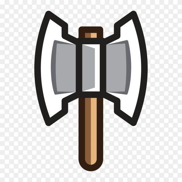 Cartoon Hand drawn Axe for creating video game on transparent PNG